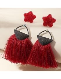 Fashion Red Resin Star Tassel Alloy Hollow Earring Set