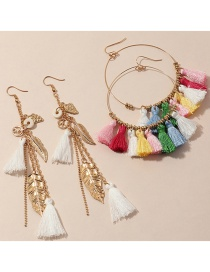Fashion Color Mixing Leaf Feather Tassel Alloy Multilayer Earring Set