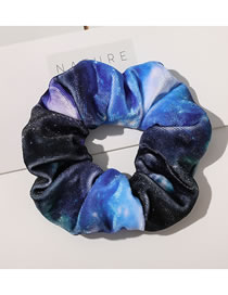 Fashion Star Flannel Hair Tie Blue Knitted Tie-dye Printed Large Bowel Hair Rope