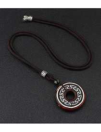 Fashion Key Pattern Dzi Bead Safe Buckle Agate Dzi Beads Six-character Mantra Safe Buckle Pendant Sweater Chain