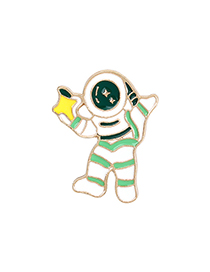 Fashion Astronaut Green Dripping Alloy Alien Astronaut Moon Star Brooch