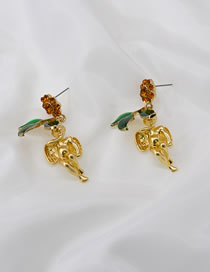 Fashion Gold Color Cupid Leaf Little Angel Earrings