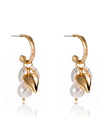 Fashion Gold Color Leaf Pearl Geometric C-shaped Alloy Earrings