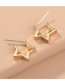Fashion Gold Color Pentagram Alloy Cutout Notch Earrings