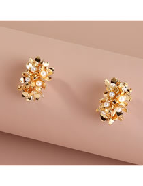 Fashion Gold Color Flower Pearl Geometric Alloy Earrings