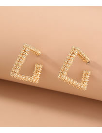 Fashion Gold Color Geometric Hemp Ball Square Alloy Earrings
