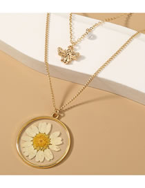 Fashion Gold Color Dried Flower Resin Bee Alloy Round Multilayer Necklace