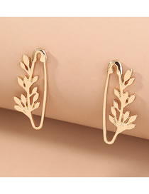 Fashion Gold Color Leaf Pin Alloy Hollow Earrings