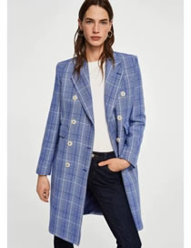 Fashion Blue Plaid Check Double-breasted Long Trench Coat