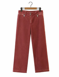 Fashion Brick Red Corduroy Zipper Solid Color Wide-leg Trousers
