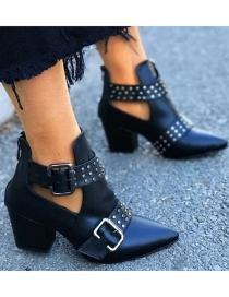 Fashion Black Belt Buckle Rivet Pointed Thick High Heel Boots