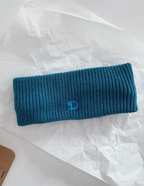 Fashion Peacock Blue Wide Side Knitted Wool Solid Color Letter Headband