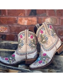 Fashion Color Pointed Rivet Embroidery Mid-block Heel Mid-boots