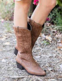 Fashion Brown Mid Heel Plus Size Embroidered Pointed Toe Boots