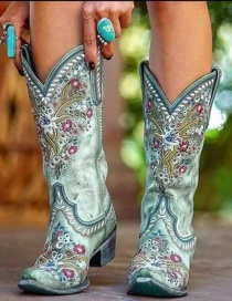 Fashion Green Embroidered Chunky Heel Point Toe Boots