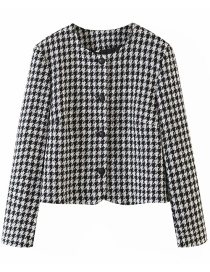 Fashion White Woollen Houndstooth Round Neck Single-breasted Cropped Coat