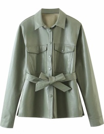 Fashion Green Faux Leather Shirt Jacket With Belt