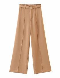 Fashion Brown Solid Color Loose Wide-leg Pants With Belt
