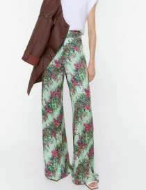 Fashion Colorful Flower Print High-rise Wide-leg Trousers