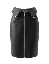Fashion Black Zip-down Collar Leather Skirt