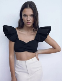 Fashion Black Short Ruffled Knitted Top
