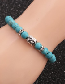 Fashion Turquoise Buddha Head 8mm Pine Lime Agate Buddha Head Round Bracelet