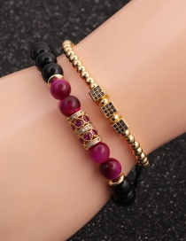 Fashion Gold Colorful 8mm Tiger S Eye Bright Stone Love Heart Micro-inlaid Zircon Cube Bracelet Set