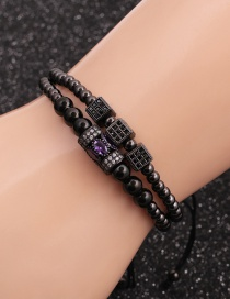 Fashion Gun Black Suit Micro-inlaid Zircon Cube Cylindrical Water Drop Bracelet Set