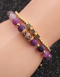 Fashion Gold Colorful Suit Micro-inlaid Zircon Cube Weathered Stone Love Bracelet Set