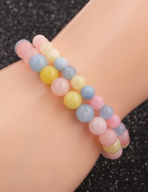 Fashion Suit Morganite Beaded Elastic Bracelet Set