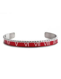 Fashion Red Open Bracelet Stainless Steel Roman Letter Opening Adjustment Bracelet Set