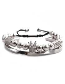 Fashion White Gold Colorful Rectangular Crown Set Stainless Steel C-shaped Twisted Crown Opening Adjustment Bracelet Set