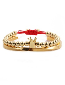 Fashion 6mm Copper Bead Crown Gold Colorful Set Stainless Steel C-shaped Twisted Copper Bead Crown Opening Adjustment Bracelet Set