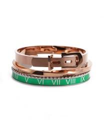 Fashion Green Open Bracelet Set Stainless Steel Roman Letter C Twisted Opening Adjustment Bracelet Set