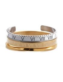 Fashion White Open Bracelet Set Stainless Steel Roman Letter C Twisted Opening Adjustment Bracelet Set