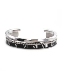 Fashion Black Open Bracelet Set Stainless Steel Roman Letter C Twisted Opening Adjustment Bracelet
