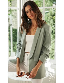 Fashion Light Green Pile Sleeve Solid Color Suit Jacket