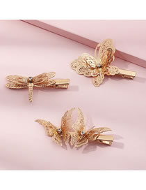 Fashion Gold Color Diamond-studded Butterfly And Dragonfly Alloy Hollow Hairpin Set
