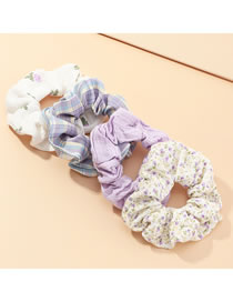 Fashion Color Mixing Plaid Flower Print Hit Color Large Intestine Circle Hair Rope Set