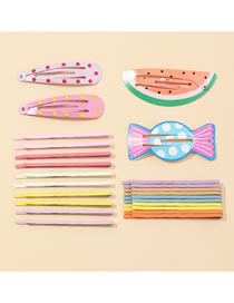 Fashion Color Mixing Watermelon Hit Color Candy Alloy Hollow Hairpin Set