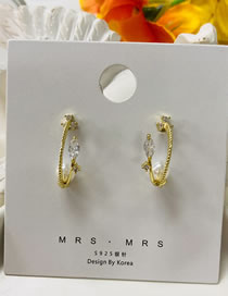 Fashion Gold Color Irregular Pearl And Diamond Geometric Alloy Earrings