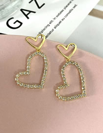 Fashion Gold Color Heart Diamond Alloy Hollow Earrings