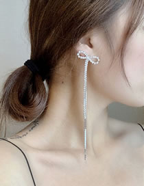 Fashion Pair Of Earrings Side Bow Diamond Chain Long Tassel Earrings Hair Clip