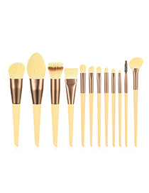 Fashion Yellow Set Of 12 Nylon Hair Makeup Brushes With Wooden Handle And Aluminum Tube