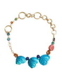 Fashion Blue Alloy Shell Adjustment Hollow Necklace