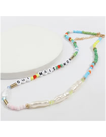 Fashion Color Rice Beads English Letters Resin Irregular Imitation Pearl Necklace