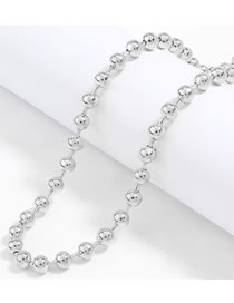 Fashion Silver Color Round Bead Chain Alloy Necklace