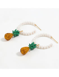 Fashion Earring Alloy Diamond Pearl Pineapple Earring Necklace