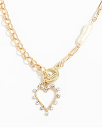 Fashion Gold Color Pearl Alloy Diamond Heart Pendant Necklace