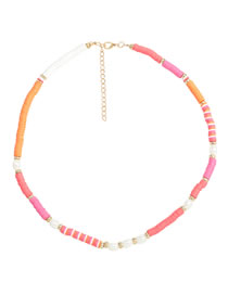 Fashion Pink Orange Soft Ceramic Small Disc Imitation Pearl Contrast Alloy Necklace